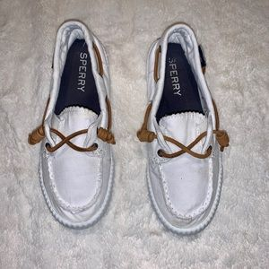 Sperry Shoes - Sperry White Boat Shoes Brown Leather Laces 7
